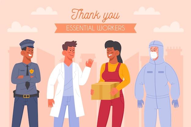 Grupo de trabajadores esenciales ilustrado con mensaje de agradecimiento.