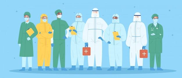 Grupo de trabajadores médicos en equipos de protección personal. médicos, enfermeras, paramédicos, cirujanos en ropa de trabajo. equipo del hospital de pie juntos vistiendo uniforme o traje de protección. ilustración