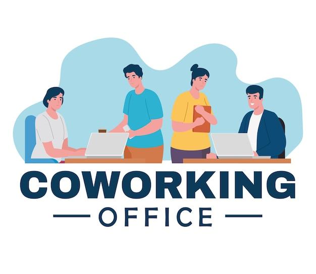 Grupo de trabajadores personajes de oficina de coworking.