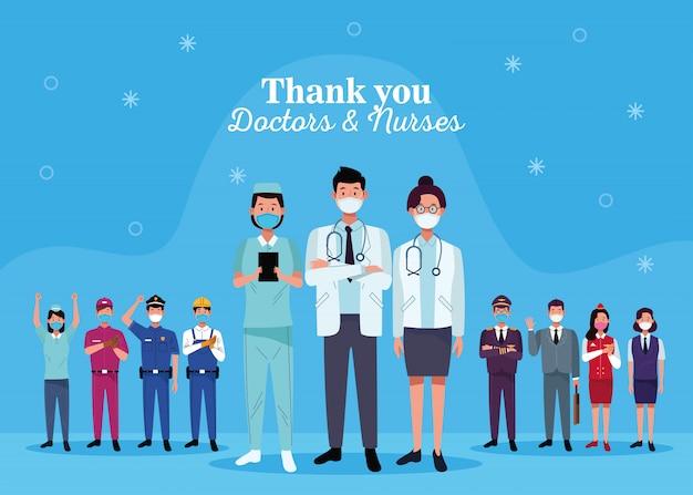 Grupo de trabajadores que usan mascarillas con mensaje de agradecimiento de médicos y enfermeras