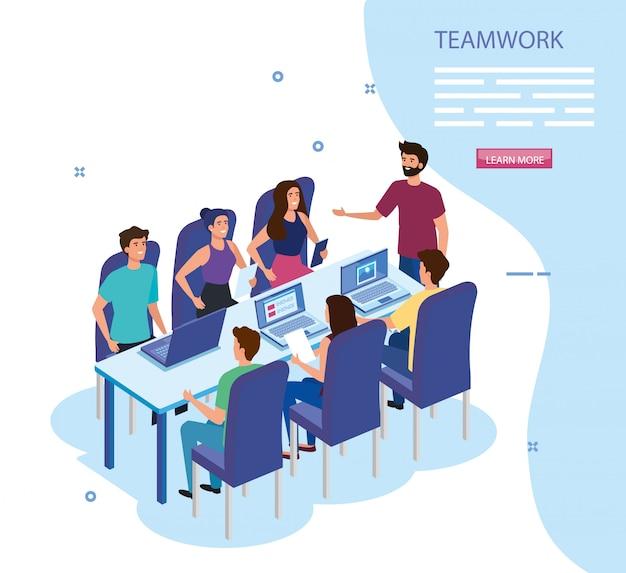 Grupo de trabajo en equipo para conocer personajes avatar