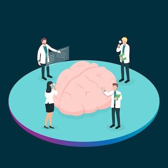 Grupo de trabajo en equipo de médico o profesional de la salud que analiza el cerebro para encontrar el problema