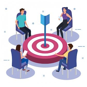 Grupo de trabajo en equipo en reunión con el objetivo