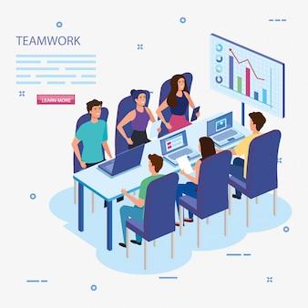 Grupo de trabajo en equipo en reuniones e infografías