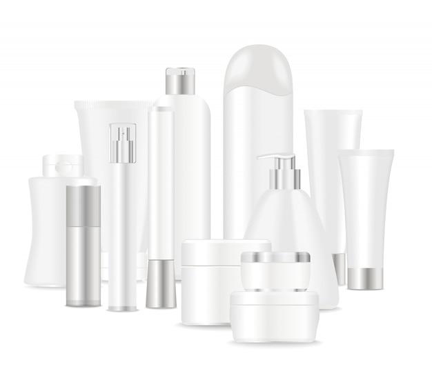 Grupo de tubos cosméticos blancos
