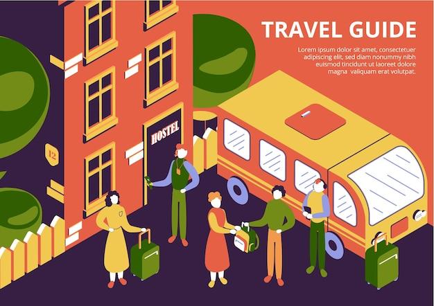 Grupo de turistas con equipaje y guía de viaje que llegan al albergue ilustración isométrica 3d