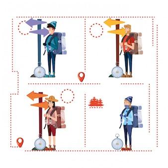 Grupo de turistas y establecer iconos