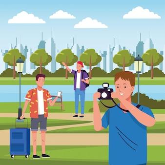 Grupo de turistas hombres haciendo actividades en el campo ilustración