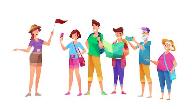 Grupo de turistas jóvenes y viejos de dibujos animados en excursión con guía turística chica con bandera. personajes de verano viajeros en vacaciones. hombre joven y mujer, personajes femeninos y masculinos senior con cámara.