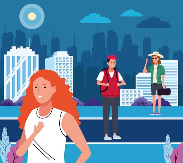 Grupo de turistas que realizan actividades en la ilustración de la ciudad.