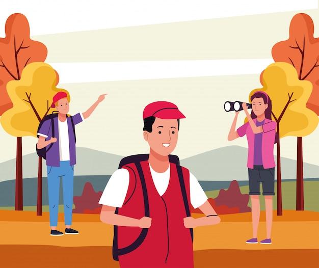Grupo de turistas que realizan actividades en la ilustración del paisaje otoñal