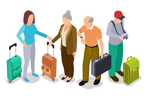 Grupo de turistas, turistas jóvenes y viejos con ilustración de maletas