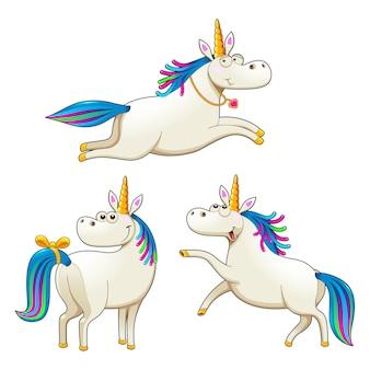 Grupo de unicornios graciosos