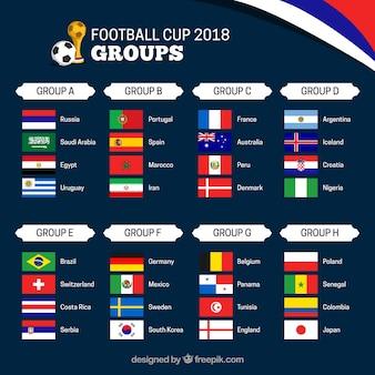 Grupos de campeonato mundial de fútbol con diferentes banderas