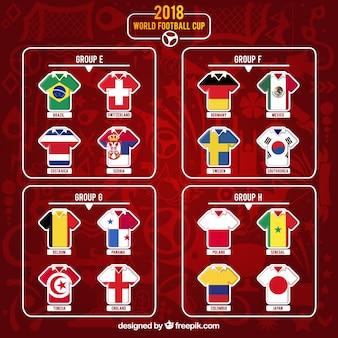 Grupos de copa de fútbol en estilo plano