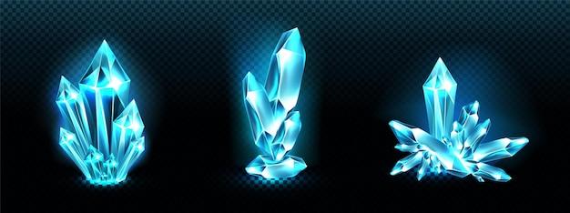 Grupos de cristales con aura de luz azul brillante, cuarzo o mineral cristalino.