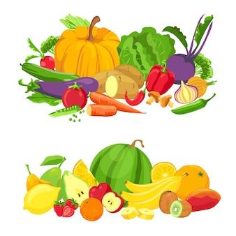 Grupos de frutas y verduras. alimentos frescos orgánicos. productos ecológicos de granja natural. dibujos animados de frutas tropicales para jugo. vector de dieta saludable. vegetales y frutas orgánicas, ilustración de cosecha vegetariana.