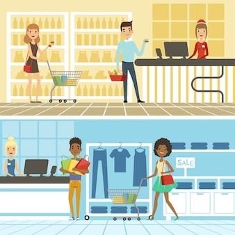 Grupos de gente divertida y feliz hacen compras en el supermercado.
