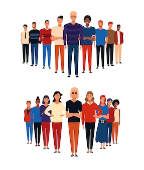 Grupos de personas de dibujos animados