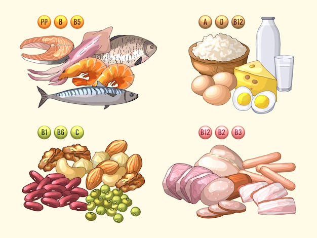 Grupos de productos frescos que contienen diferentes vitaminas.