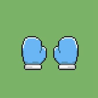 Guante azul con estilo pixel art