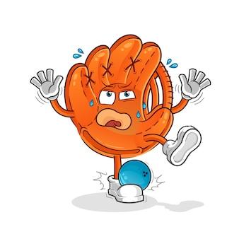 Guante de béisbol golpeado por ilustración de dibujos animados de bolos