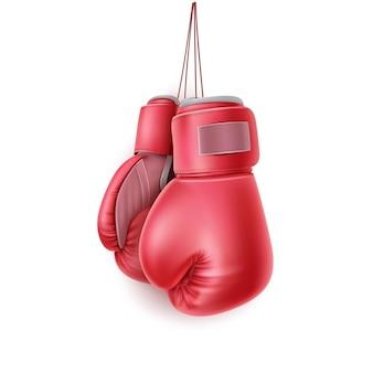 Guante de boxeo colgando de encaje ilustración 3d