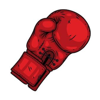 Guante de boxeo rojo aislado en un fondo blanco.
