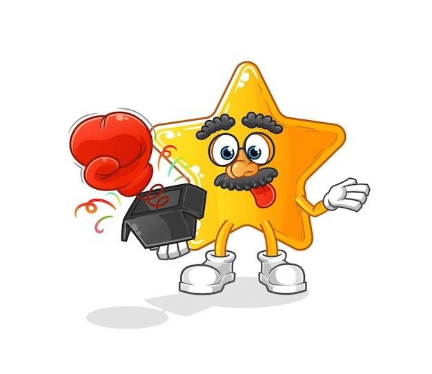 El guante de broma estrella en la caja. mascota de dibujos animados