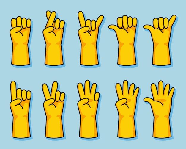 Guante de goma amarillo de dibujos animados conjunto de gestos de la mano