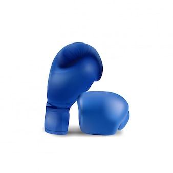 Guantes de boxeo azules aislados sobre fondo blanco.