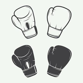 Guantes de boxeo en estilo vintage. ilustración vectorial