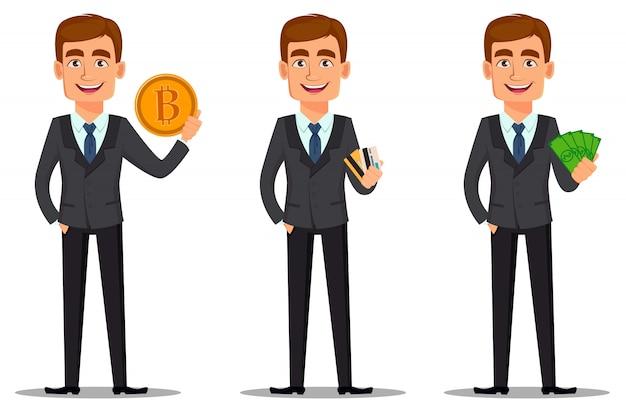 Guapo banquero en traje de negocios