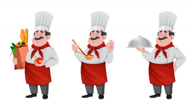Guapo chef personaje de dibujos animados. cocinero alegre