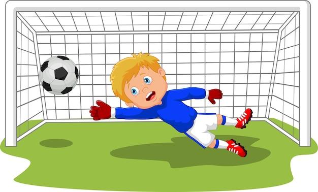 Guardameta portero de fútbol fútbol salvando un gol