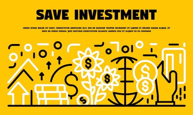 Guardar banner de inversión, estilo de contorno