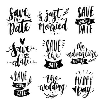 Guardar el diseño de la colección de letras de fecha
