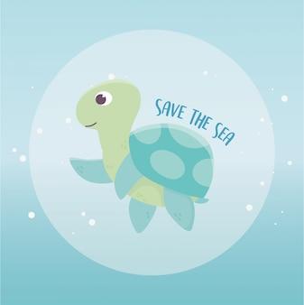 Guardar el diseño de dibujos animados de ecología ambiental de tortuga marina