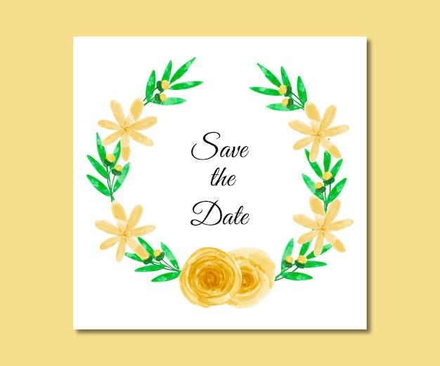 Guardar la fecha acuarela flores amarillas
