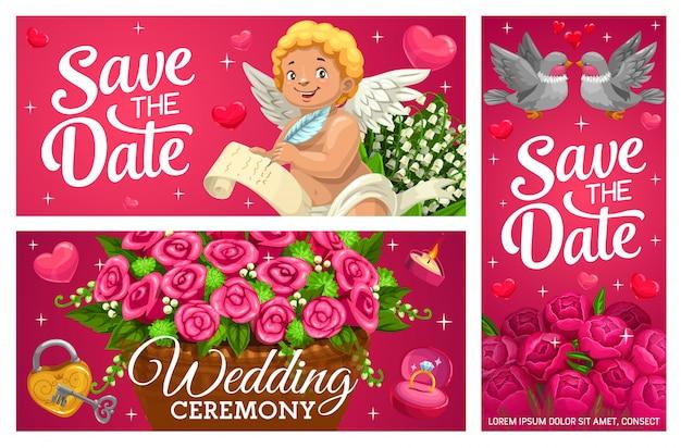 Guardar la fecha banners de boda, tarjetas de matrimonio.