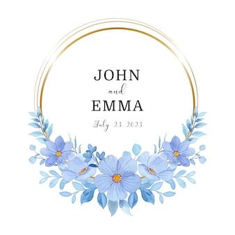 Guardar la fecha corona floral azul acuarela con marco dorado