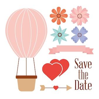 Guardar la fecha globo cesta corazones flores y flecha