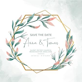 Guardar la fecha de invitación con elegante marco dorado