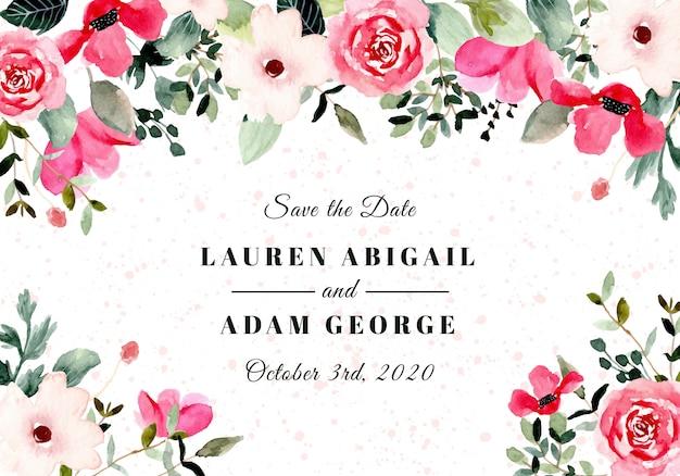 Guardar la fecha con marco de acuarela floral rosa