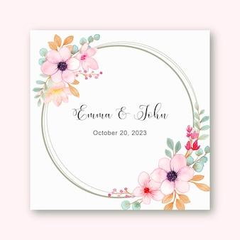 Guardar la fecha marco de corona floral rosa acuarela