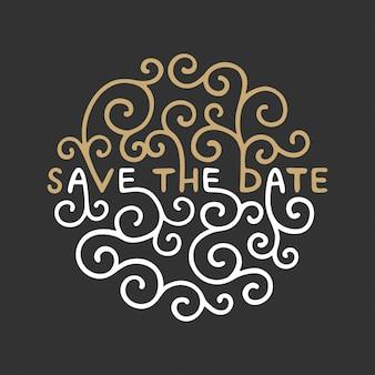 Guardar la fecha de la plantilla de vector de la tarjeta de invitación