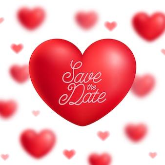 Guardar la fecha vector ilustración corazones rojos