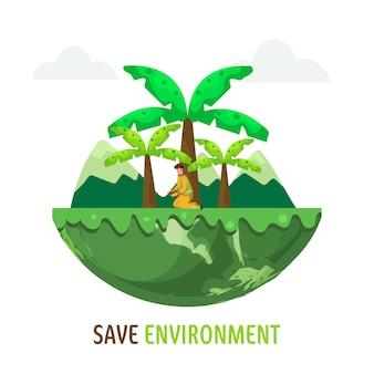 Guardar la ilustración del concepto de medio ambiente