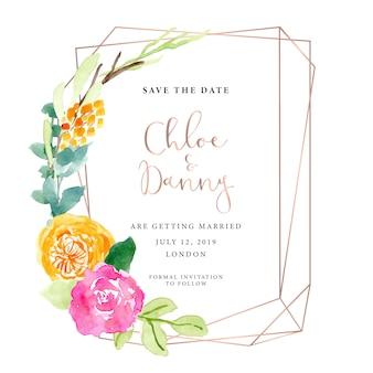 Guardar la fecha con marco floral y oro rosa