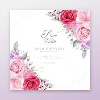 Guardar el marco floral de fecha con borde de flores de acuarela